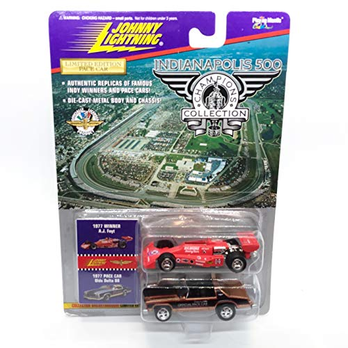 Johnny Lightning 1977 A.J Foyt & Olds Delta 88 Pace Car Indianapolis 500 Champions Series 1 1996 Playing Mantis 1:64 Scale Authentic Replicas of Famous Indy Winners Die Cast Vehicle 2-Pack ()
