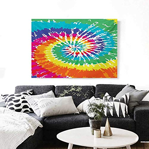 BlountDecor Rainbow Art-Canvas Prints Digital Spiral Vortex Vibrant Rainbow Colored Sixties Ikat Psychedelic Pattern Print Modern Wall Art for Living Room Decoration 32