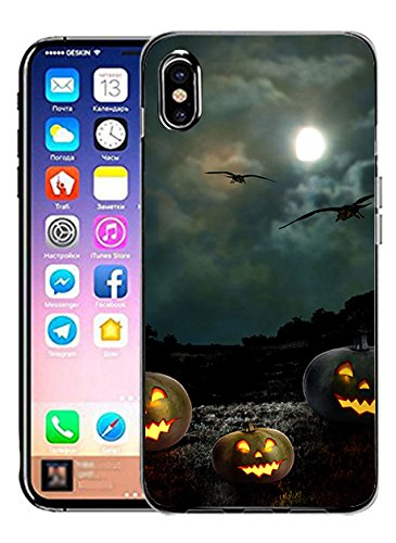 Hard Back Case Cover Shell for iPhone X Black Night in Halloween]()