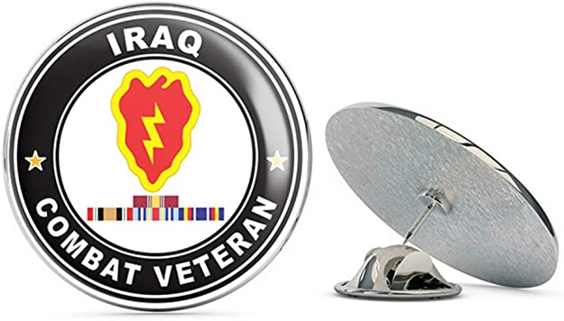 US Army 25th Infantry Division Iraq with GWOT Ribbons Combat Veteran Metal 0.75 Lapel Hat Pin Tie Tack Pinback