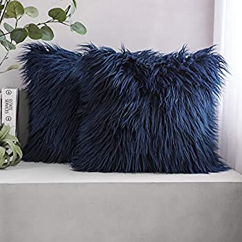 Phantoscope Pack of 2 Luxury Series Throw Pillow Covers Faux Fur Mongolian Style Plush Cushion Case for Couch Bed and Chair, Navy Blue 18 x 18 inches 45 x 45 cm