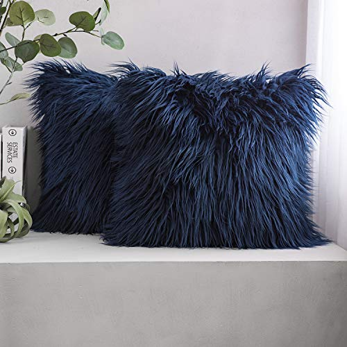 Phantoscope Set of 2 Navy Blue Decorative New Luxury Series Merino Style Fur Throw Pillow Case Cushion Cover 18 x 18 inches 45cm x 45cm (Pillow Cushions)