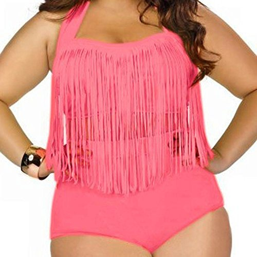 BUSL Talle del bikini de la borla del traje de baño atractivo de gran tamaño rose red