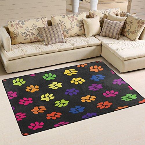 WOZO Vintage Paw Print Area Rug Rugs Non-Slip Floor Mat Doormats Living Room Bedroom 60 x 39 inches (Rug Paw Print)