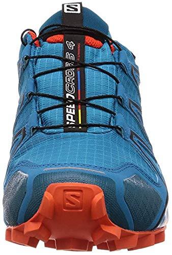 Salomon Men's Speedcross 4 GTX Running Trail Shoes Fjord Blue/Cherry Tomato 11.5