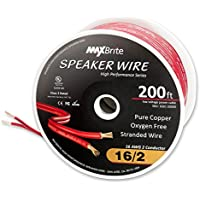 200 Feet High Performance 16 Gauge Speaker Wire, Oxygen Free Pure Copper - UL Listed Class 2