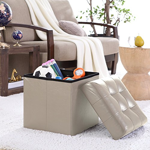 Taupe Leather Seat (Ellington Home Foldable Tufted Faux Leather Storage Ottoman Square Cube Foot Rest Stool/Seat - 15