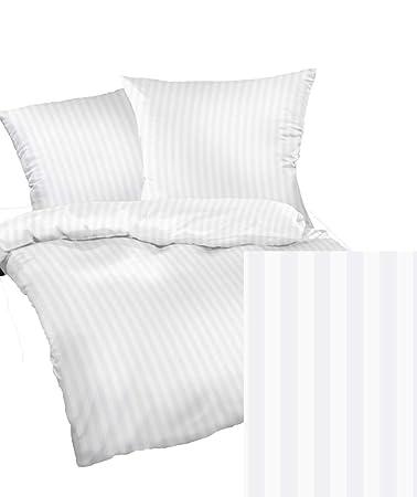 Mako Satin Bettwäsche Set Linea Weiß Damast 240x220 Cm