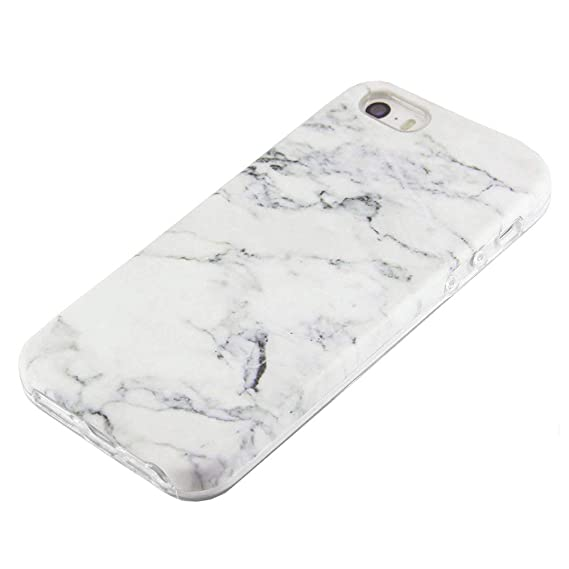 new style dce1b 5efc1 uCOLOR White Marble Case Compatible for iPhone SE 5S 5 Cute Protective  Dual-Layer Soft TPU Shockproof Slim Case for iPhone SE 5S 5