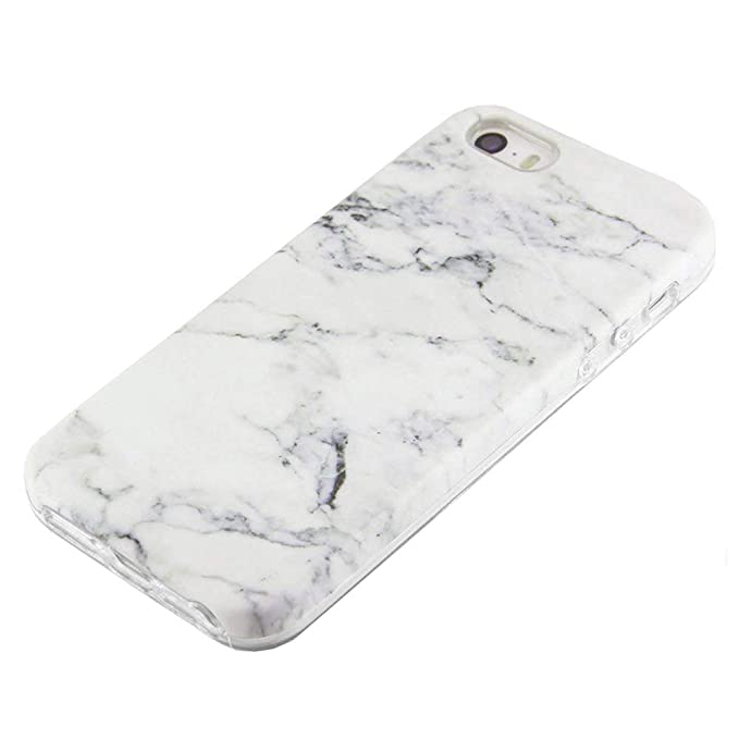 Amazon.com  uCOLOR White Marble Case Compatible for iPhone SE 5S 5 ... d705c09ef