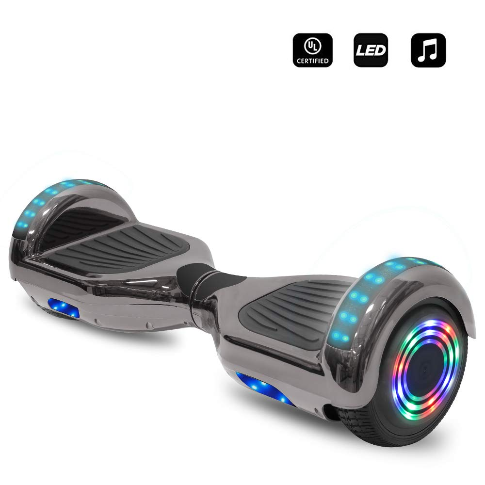 cho 6.5'' inch Wheels Electric Smart Self Balancing Scooter Hoverboard with Speaker LED Light - UL2272 Certified (Chrome Black) by cho