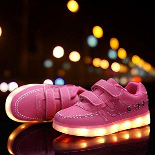 [Present:kleines Handtuch]JUNGLEST® Little Boy Mädchen Kind USB Lade LED leuchten Glow beiläufige Schuh Rosa