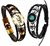 Newless 2 Pcs Constellation Leather Bracelet Punk Braided Rope Bracelet Bangle (Virgo)