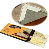 Rug Grippers by Bowerbird - 8 pcs Anti Curling and Non Slip Rug Gripper. Flatten Rug Corners, Stop Sliding - Ideal Alternative To Rug Pad, Carpet Tape and Rug Tape for Hard Floors