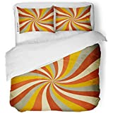 Emvency 3 Piece Duvet Cover Set Brushed Microfiber Fabric Breathable Yellow Vintage Retro Twist Pattern Orange Nostalgia Bedding Set with 2 Pillow Covers Full/Queen Size
