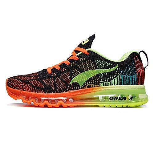 ONEMIX Men's Lightweight Air Cushion Outdoor Sport Running Shoes BlackGreen10 D(M) US = Foot Length 11.02in = 44EUR