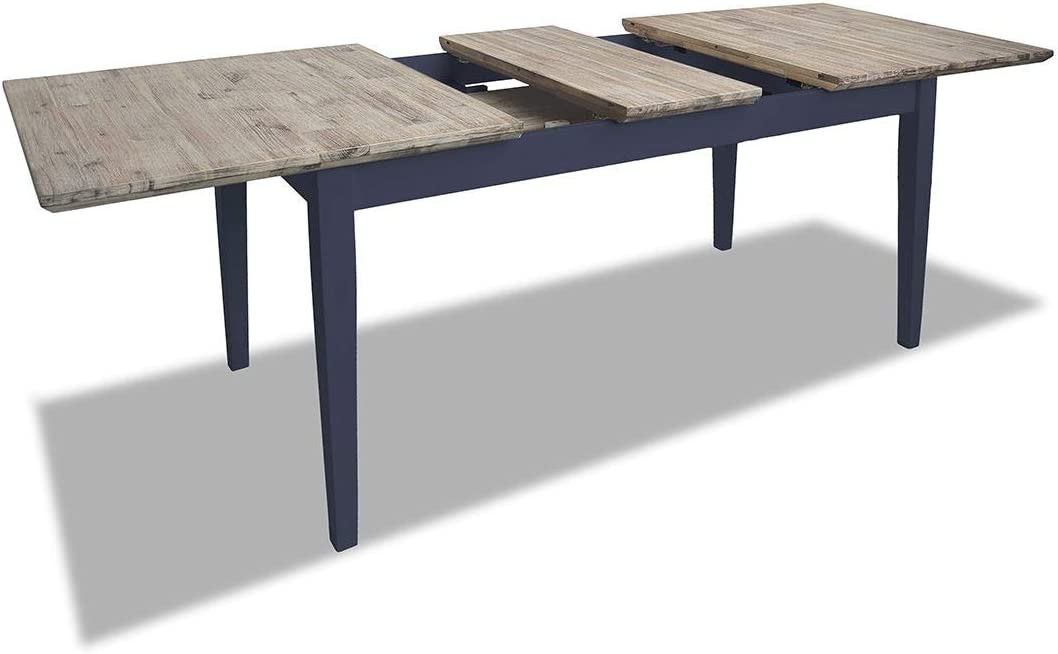 Florence grey rectangular dining table and 4 acacia seat chairs set. Kitchen dining table set. Navy Blue Set 1