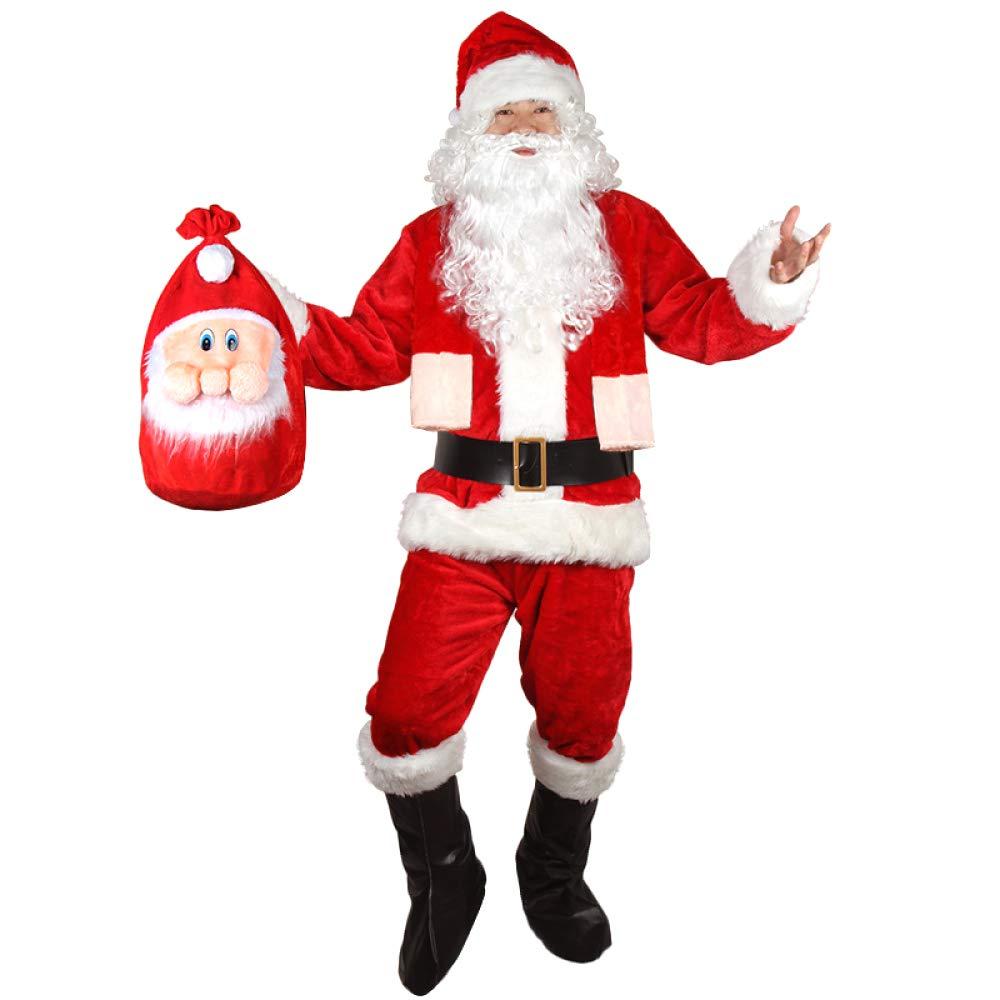 QIAOY Adulto Navidad Santa Oro Terciopelo Navidad Vestir Ropa,Red-7-pieceset