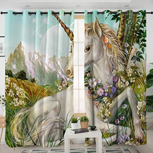 Sleepwish Green Garden Unicorn Room Curtains Animal Horse Western Pattern Valance Magic Theme Curtain for Girls Boys Bedroom (2 Panels, 52x84 Inch)