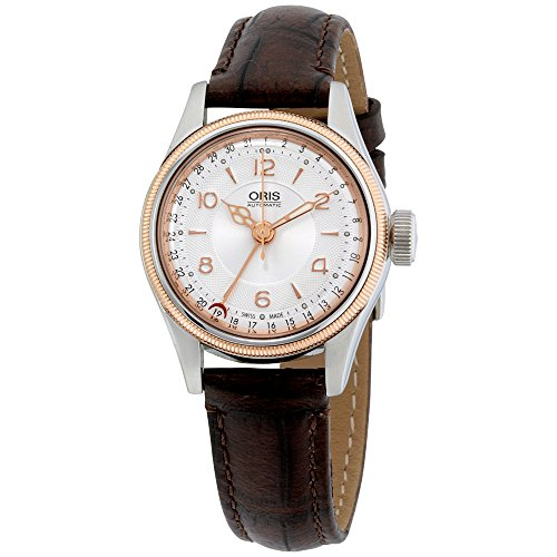 Oris Silver Dial Brown Leather Strap Ladies Watch 59476954361LS
