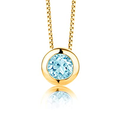 ByJoy Necklace for Women Sterling Silver solitaire pendant Sky Blue Topaz 45 cm chain 925 Silver