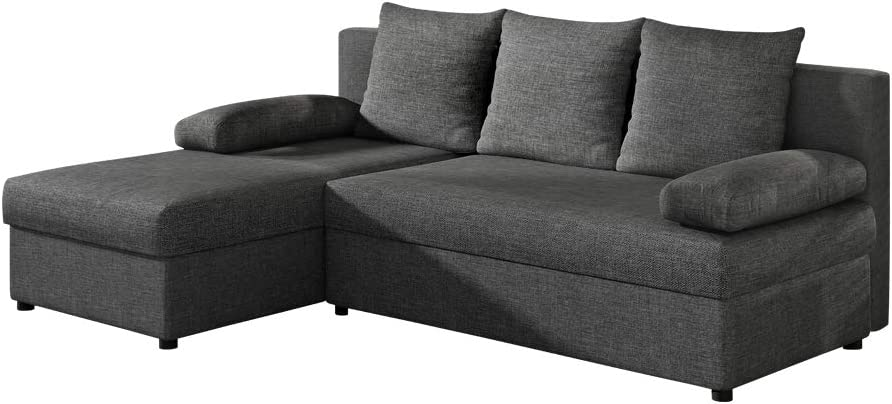 Corner Sofa Bed//Sleep Function//Settee//L-shape Couch with Storage//Brown SELSEY AMARGA