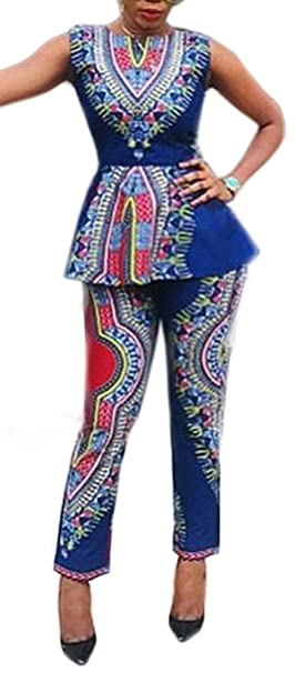 4533f09b4f9349 Amazon.com  Blansdi Women African Print Bodycon Peplum Blouse Tops Long  Pants 2 Piece Suit Sets Outfits  Clothing