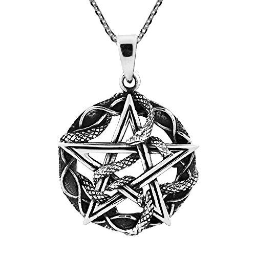 (AeraVida Unique Star Pentagram Entwined Snake .925 Sterling Silver Pendant Necklace)