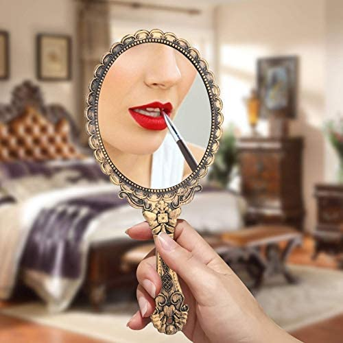 Yusong Vintage Handheld Mirror, Small Hand Held Decorative Mirrors for Face Makeup Embossed Flower Portable Antique Travel Personal Cosmetic Mirror with Powder Puff (Brass Gold)