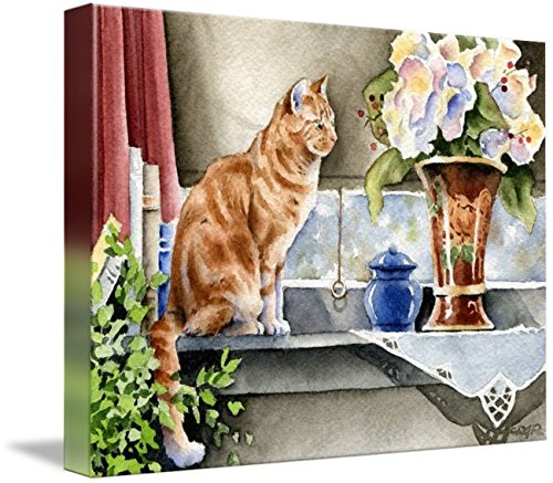 Wall Art Print entitled Orange Tabby Cat At Window by David Rogers