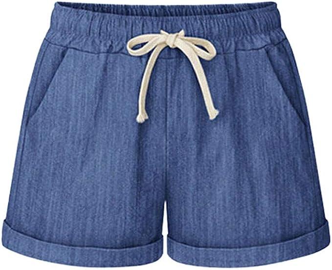 Pantalon Chandal Mujer Talla Grande Bolsillo Vendaje Shorts Color ...