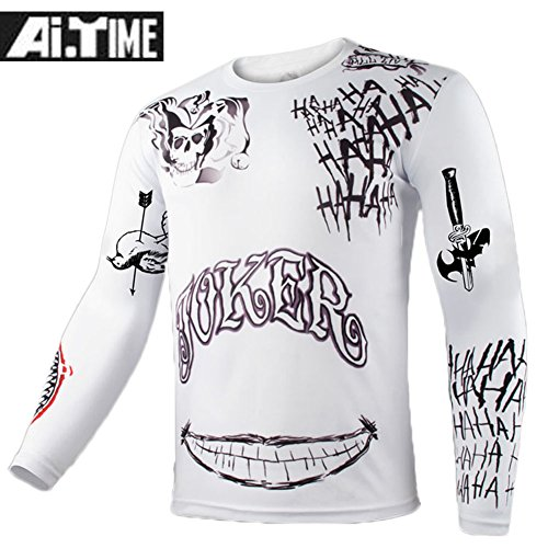 Movie Suicide Squad Joker Tattoo Cosplay Long Sleeve Sports T-Shirt White S