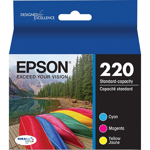 Genuine Epson 220 Color Cartridges Ink Genuine T220520 Cyan Magenta Yellow - Bulk ()