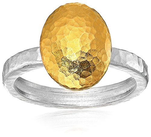 GURHAN ''Jordan'' Sterling Silver Layered with 24k Gold Large Stackable Ring, Size 6.5 by Gurhan
