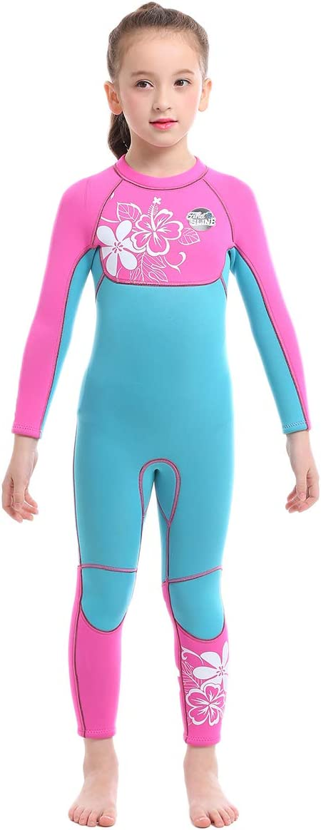 Cokarsey Girls 3mm Neoprene Full Wetsuit Back Zip for Snorkeling, Swimming, Diving