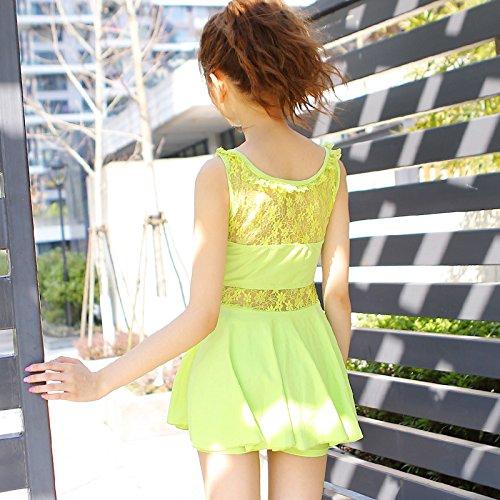Women Girls Shape Body One-piece Sexy Lace Swimwear Swim Dress Green (US 4-6)