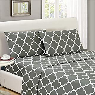 Mellanni Bed Sheet Set King-Gray - Brushed Microfiber Printed Bedding - Deep Pocket, Wrinkle, Fade, Stain Resistant - 4 Piece (King, Quatrefoil Silver - Gray) (B01E7UJA4U) | Amazon price tracker / tracking, Amazon price history charts, Amazon price watches, Amazon price drop alerts