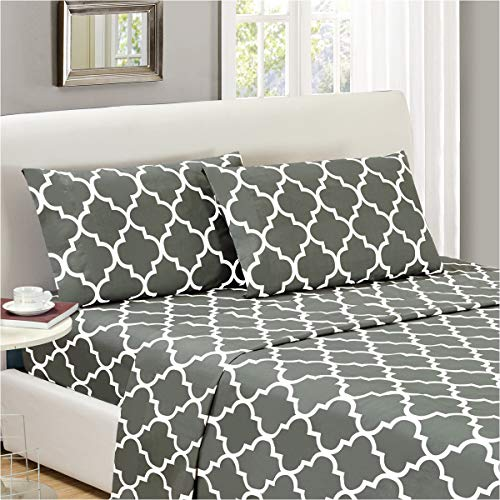 (Mellanni Bed Sheet Set Queen-Gray - Brushed Microfiber Printed Bedding - Deep Pocket, Wrinkle, Fade, Stain Resistant - 4 Piece (Queen, Quatrefoil Silver - Gray))