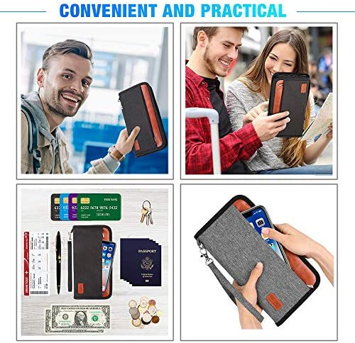 Family Passport Holder RFID Blocking Document Organizer Bag, Travel Wallet Ticket Holder