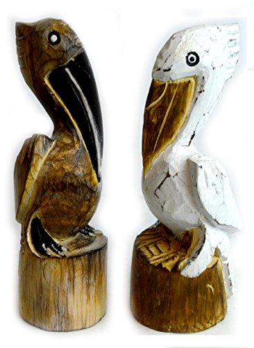 Hand Carved Nautical Wooden Set of 2 Pelican Statues Brown and White Art Nautical Sculpture