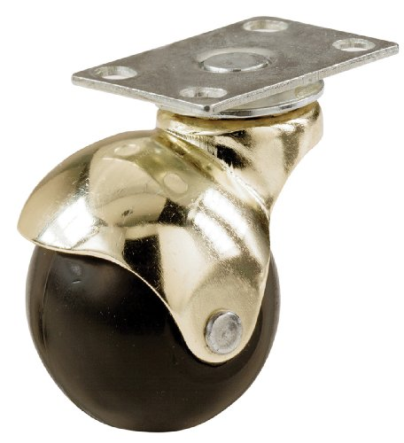 Shepherd Hardware 9517 2-Inch Office Chair Plate Caster, Bright Brass Hooded Ball