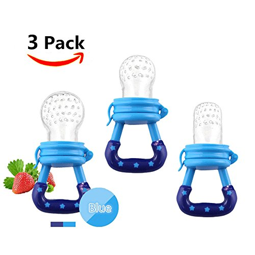 Baby Food Feeder 3 Pack Fruit Food Silicone Nipple Teething Toy Reusable Aching Gums Pacifier,Blue