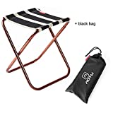 Skysper Folding Camping Stool, Portable Chair for Camping Fishing Hiking Gardening and Beach Backpacking Outdoor Stool, with Black Bag