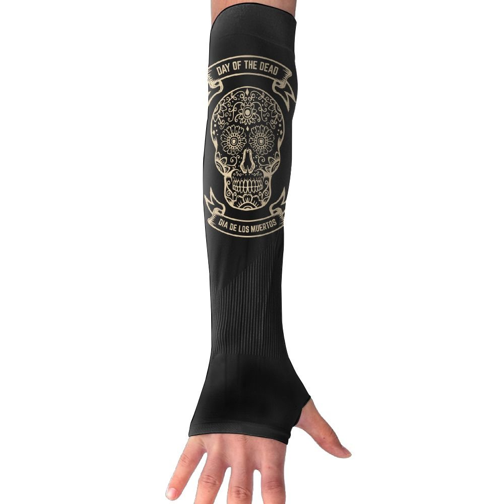 Suining Unisex Day Of The Dead Skull Sense Ice Outdoor Travel Arm Warmer Long Sleeves Glove