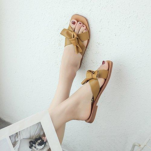 ITTXTTI Frau Sandelholze Pantoffel Weibliche Flache Sommerabnutzung Mode Bogen Coole Sandalen Wilden Einfachen Strand Schuhe yellow