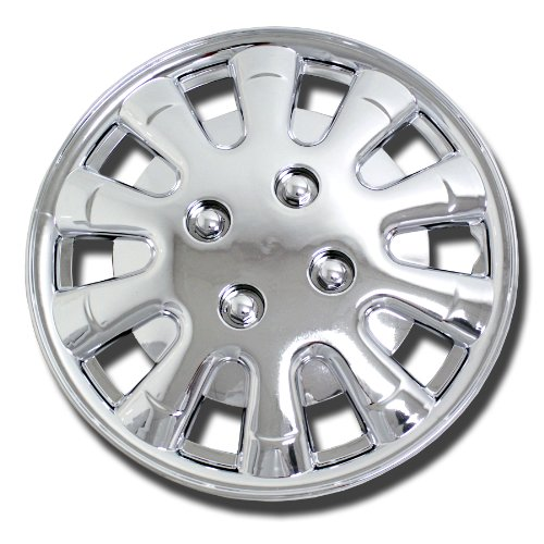 TuningPros WSC-303C15 Chrome Hubcaps Wheel Skin Cover 15-Inches Silver Set of 4