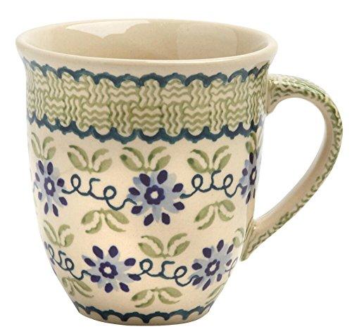 Polish Pottery Blue Floral Basketweave Handmade Jumbo Mug, 16 Oz
