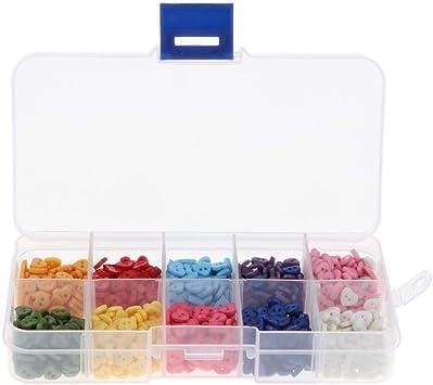 1000 Unids Caja de Botones de Costura Resina Multi-Forma Color Mezclado para Artesanía de Manualidades Adornos 6mm - Corazón: Amazon.es: Juguetes y juegos
