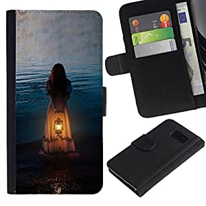 KLONGSHOP / Tirón de la caja Cartera de cuero con ranuras para tarjetas - Girl Woman Orange Light Meaning - Samsung Galaxy S6 SM-G920