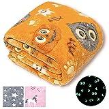 Forestar Halloween Orange Throw Blanket, Glow in The Dark Blanket, Gifts for Kids, Premium Super Soft Fuzzy Throw Blanket (50' x 60')